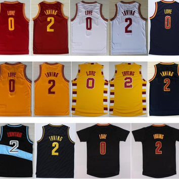 2016 Men 2 Kyrie Irving Jersey Rev 30 New Material 0 Kevin Love Shirt Uniform Fashion Trowback Red White Yellow Black Navy Blue Best Quality