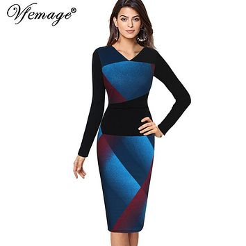 Vfemage Womens Elegant Optical Illusion Patchwork Contrast 2017 Slim Casual Work Office Business Party Bodycon Pencil Dress 4826