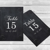 Chalkboard Wedding Table Numbers PDF Templates - Swirls Chalkboard Printable Table Number Cards - 4x6 Editable PDF Template - DIY You Prin