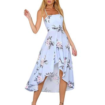 Summer Dress 2018 Party Tank Casual Ladies Floral Print Beach Dress Elegant Flower Tank Bohemian Dresses