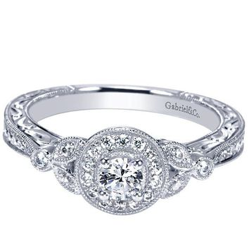 14K .42cttw Vintage Halo Diamond Engagement Ring