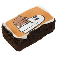 Cute Trick or Treat Ghost with Bag Design Brownies