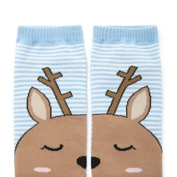 Striped Deer Print Socks