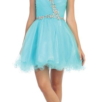 Poofy Short Homecoming Dress Mint Tulle Strapless Rhinestones