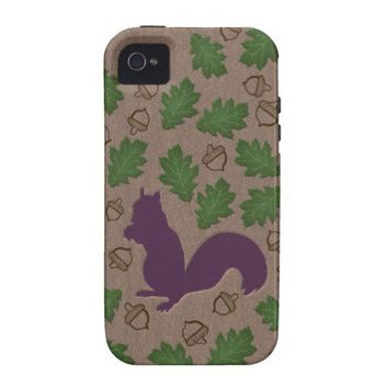 Squirrel with Oak Leaves and Acorns Tough iPhone 4 Cases from Zazzle.com