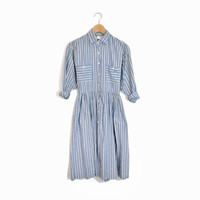 Vintage Chambray Shirt Dress in Blue White Striped - 4P