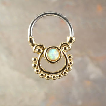 16 Gauge Gold Opal Septum Clicker Ring Daith Hoop