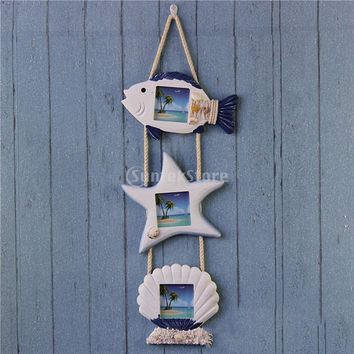 PHOTO PICTURE WALL HANGING FRAME DISPLAY Seashell Fish Star Nautical Board