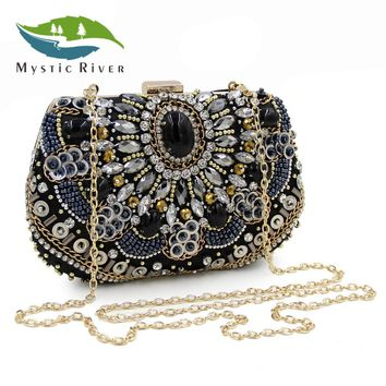 Mystic River Women Clutch Bags Ladies Clutches Purses Female Black Beaded Evening Bag