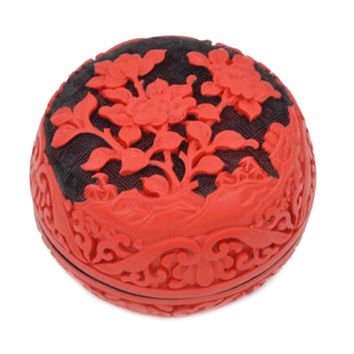 Carved Lacquerware Small Jewelry Box black flower