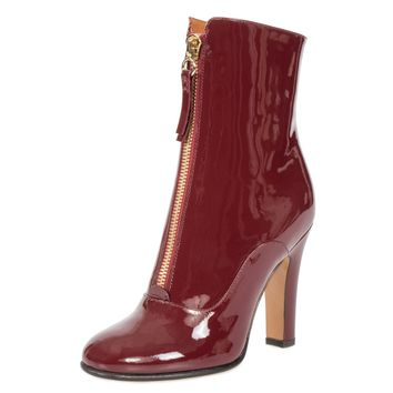 Valentino Patent Leather Ankle Boots | Maroon | 37