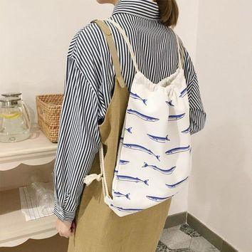 Student Backpack Children Osmond New Women Canvas Drawstring Backpack Bag Korean Style Printing College Students Backpacks School Bags For Teenagers Girls AT_49_3