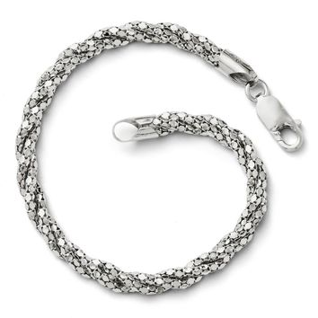 Sterling Silver 5mm Twisted Mesh Chain Bracelet, 7.5 Inch