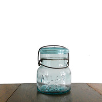 Vintage Aqua Atlas Jar - Glass Canning Jar w/ Lid -  E Z Seal No. 6 - One Pint
