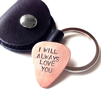 Copper guitar pick keychain, men's gift, I will always love you, anniversary wedding groom gift