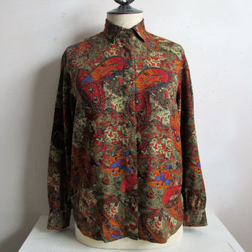 Vintage United Colors 80s Shirt Benetton Russet Brown Paisley Long Sleeve 1980s Blouse Small