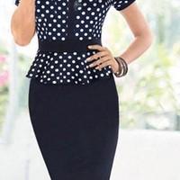Deep Blue Polka Dot Bodycon Dress