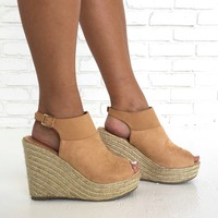 Malibu Peach Espadrille Wedges