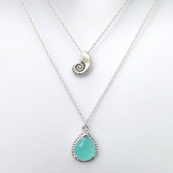 Double layered, Ariel, Seashell, Mint, Glass, Gold, Silver, Necklace, Layering, Necklace, Lovers, Friends, Mom, Sister, Christmas, Gift