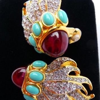 Elizabeth Taylor for Avon Eternal Flame clip earrings | Liz Taylor 1993 | celebrity designer couture | signed | faux ruby turquoise diamond