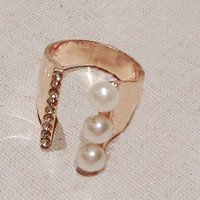 Lined Pearl And Rhinestone Cuff Ring (Slightly Adjustable)