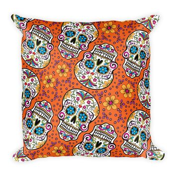 Sugar Skull Day of the Dead ORANGE Square Pillow