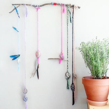 Room Decor~ Bohemian Chic wall hanging~Top Trend~ Nature Art~Boho Tapestry~Hippie Wall Hangings~ Rock Macrame~ Boho Apartment Decor~ Gypsy