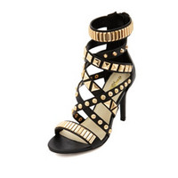STUDDED STRAPPY SINGLE SOLE HEEL