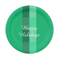 Holiday Green Paper Plates by Janz 7 inch