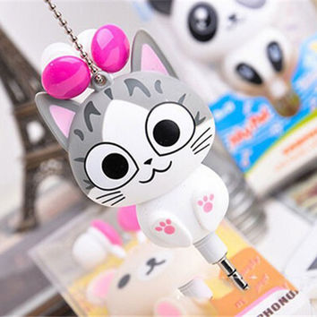 Cute Kawaii Cheese Cat bear Panda Cartoon Retractable MP3 MP4 Earphone for Samsung HTC Xiaomi Sony for IPhone 4 5 5s 6 6s 7 plus
