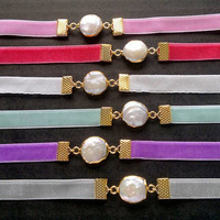 Pearl Choker Necklace 11 COLORS Choker with Pearl Necklace Pink Velvet Choker 10mm Pearl Velvet Choker Velvet Necklace Pink Collar Necklace