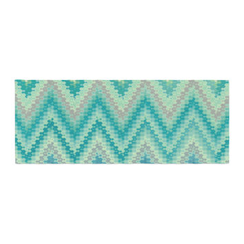 "Nika Martinez ""Seventies Emerald Chevron"" Green Abstract Bed Runner"