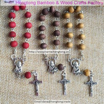 12pcs/pack 6mm wooden rosary bracelet,perfumed wood bead bracelets with rose scent, Virgin Mary centerpiece and benedict cross