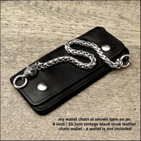 Luxurious Thick Viking Braid Wallet Chain with Snarling Wolf Head End - All Stainless Steel Construction