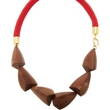 Red And Natural Legno Wood Necklace