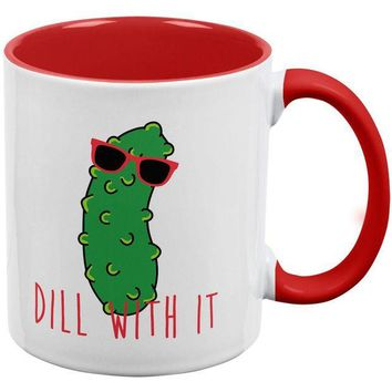 DCCKU3R Vegetable Pickle Dill Deal With It Red Handle Coffee Mug