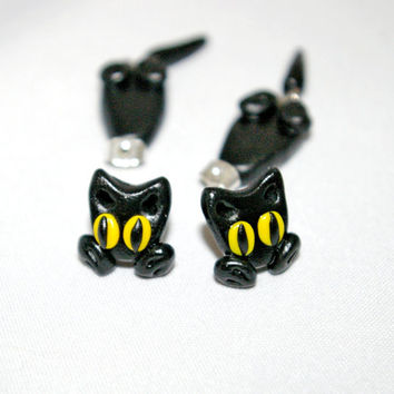 cat ear jacket, animal dangle earrings,clinging earrings,two part earring,fake gauge stud,unique halloween post,earjackets,double sided cuff