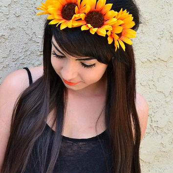 Flower Leather Headband - Sunflower Headband - Sunflower Crown - Sunflower Halo - Hippie Headband