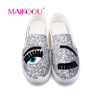 Cartoon Big Eyes Diamond Lady Casual Shoes Women Flats 2017 Spring New Fashion Girls Shoes Non-slip rubber sole canvas shoes
