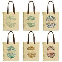 Hand Drawn Floral Emblems Beige Printed Canvas Tote Bags Leather Handles WAS_30