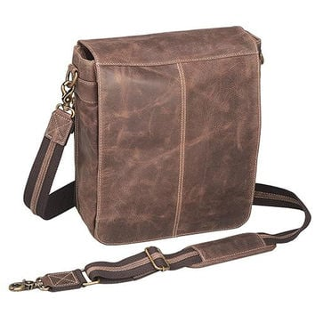 Buffalo Leather - Vertical Messenger Bag, Vintage Brown Distress