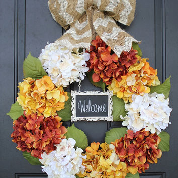 Traditional Fall Wreath, Chalkboard, Hydrangea flowers, Chevron Burlap Bow, Shabby Chic Fall Decor, Thanksgiving Wreath, Front Door Wreath