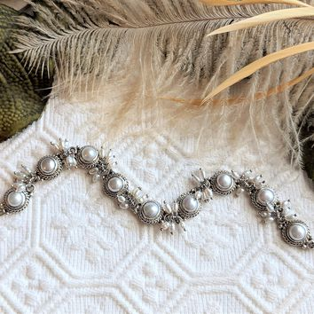 Artisan Crafted Sterling Silver Pearl Cluster Link Bracelet 7 1/2 Inch