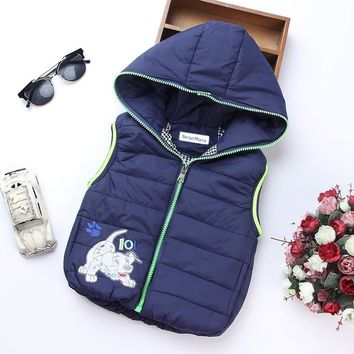 Fashion Autumn Boy Vest Kids Clothes Coat Hooded Casual Baby Coats Character Warm Vests For Boys Children Clothing Outerwear