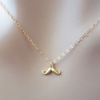 Goldfilled mustache necklace, cute minimal necklace, gift idea, birthday gift, simple gold necklace, christmas gift
