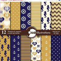 80% OFF Nautical digital papers in gold and marine, Coastal papers in gold and marine, Nautical scrapbook papers, commercial use, AMB-563