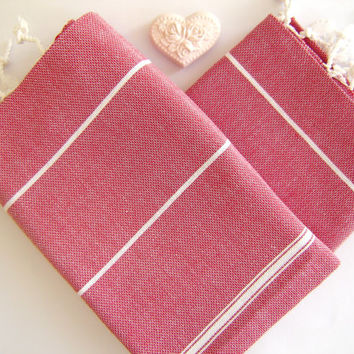 Set of 2 Turkish Hand Towel, Head Towel (Peshkir), Tea Towel, Red