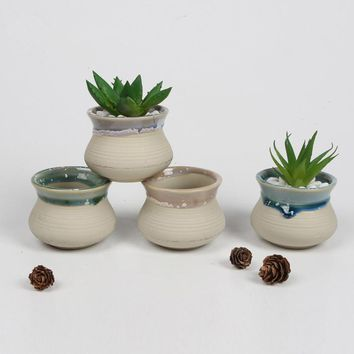Home garden 4 pcs Creative Ceramic Novelty Bonsai Planter Flower Pot