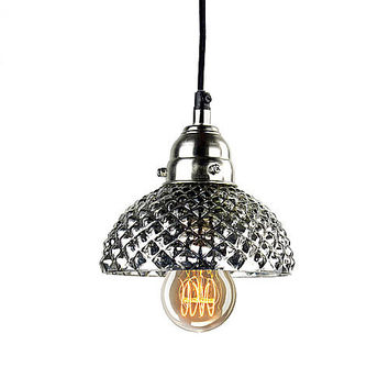 Hobnail Mercury Glass Antiqued Pendant Lamp