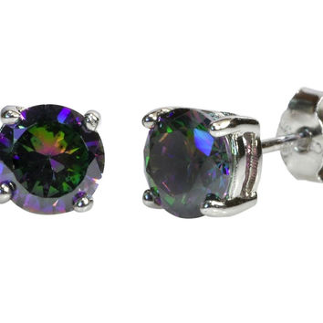 Mystic Topaz Stud Earrings 925 Sterling Silver CZ Cubic Zirconia Basket Setting